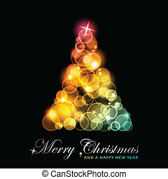 jul, farverig, stylized, træ