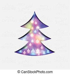 jul, festlig, träd