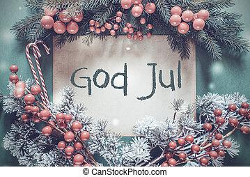 jul, girlande, fir træ, branch, gud, jul, betyder, glædelig...