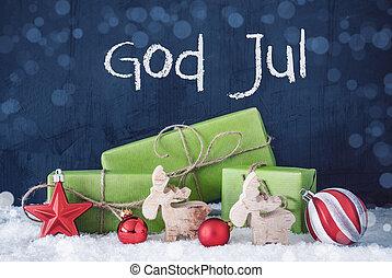 jul, grønne, sne, jul, gud, betyder, gaver, merry