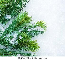 jul, gran träd, över, snow., vinter, bakgrund