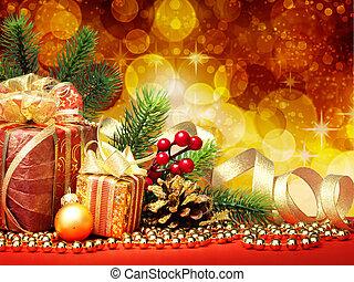 jul, gran träd, med, gåvor