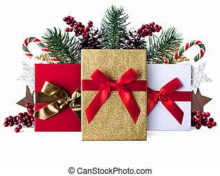 jul, grunge, dekoration, bakgrund, med, sparkly, presenterar