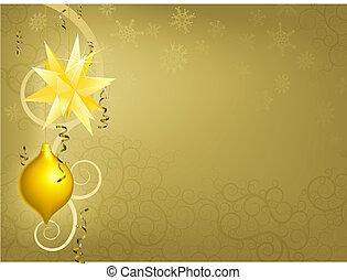 jul, guld, bakgrund, prydnad