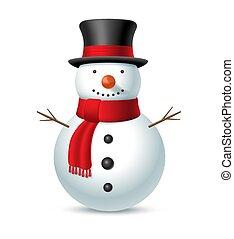 jul hatt, snögubbe, vektor, illustration, bakgrund., vit, scarf, isolerat