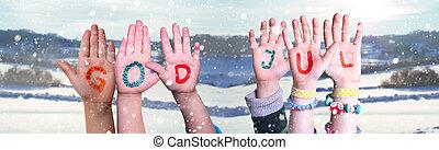 jul, jul, gud, snedækkede, baggrund, bygning, betyder, merry...