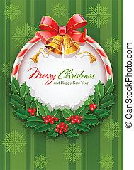 jul krans, med, bog, och, guld, sätta en klocka på