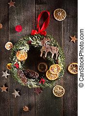 jul krans, på, den, ved, med, stjärnor