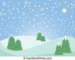 jul, landskap, snöig