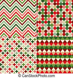 jul, mönster, seamless, färger
