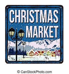 jul, marknaden, årgång, rostig metall, underteckna
