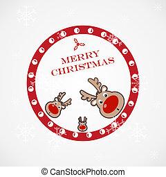jul, morsom, illustration, rådyr