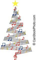 jul, musik, träd