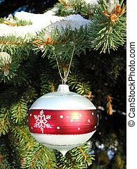 jul ornament, på, gran träd, 1