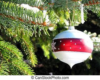 jul ornament, på, gran träd