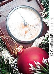 jul ornamenter, och, klocka, -, lov, bakgrund