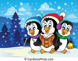 jul, pingviner, tema, avbild, 2