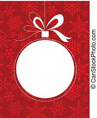 jul, rød baggrund, hos, sneflager, mønster
