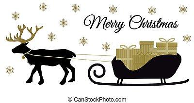jul, reindeer, hos, krave, og, stabel, i, gave, bokse, på, santa's slæde, sort, silhoutte, og, gylden, toner, lejlighed, konstruktion, vektor, by, glædelig jul