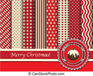 jul, scrapbooking, röd, och, grädde