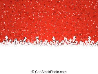 jul, snöflinga, gräns