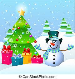 jul, snögubbe, träd