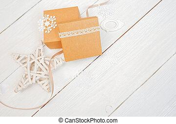 jul, stil, gåva, utrymme, trä, text, lov, rustik, mockup, rutor, bord, bakgrund, vit, avskrift, din