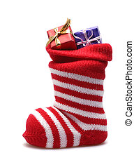 jul strumpa, och, presenterar