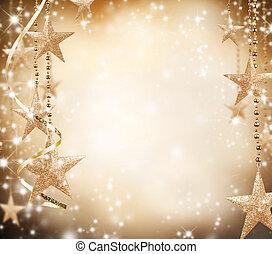 jul, tema, med, gyllene, stjärnor, och, gratis, utrymme,...