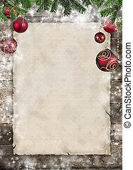jul, tema, med, tom, papper, på, trä plankor