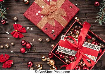 jul, trä, pengar, slak, artikeln, jul, bakgrund., packat, utsikt., gåva, topp, röd