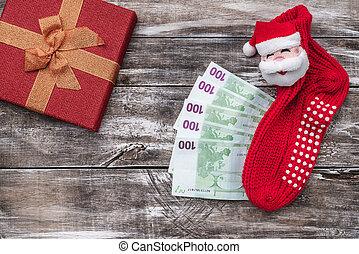 jul, trä topp, pengar, gåva, bakgrund., artikeln, utsikt., jul