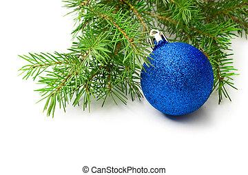 jul träd utsmyckning, isolerat, vita