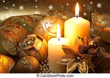 jul utsmyckning, med, vaxljus, över, skum fond