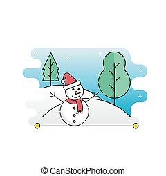 jul, vektor, illustration, snögubbe