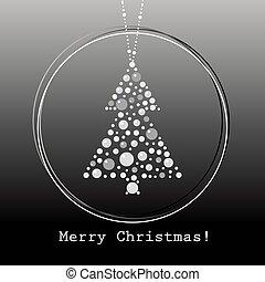 jul, vektor, träd