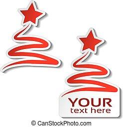 jul, vinter, erbjudande, stjärna, märke, träd, försäljning, text, etikett, papper, bakgrund., vektor, vit, din, röd