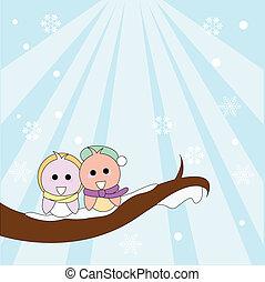 jul, vinter, fåglar