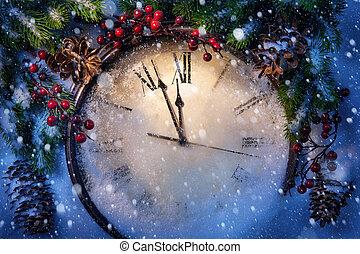 julafton, och, nya år, hos, midnatt