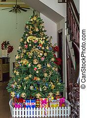 julafton, träd, färgrik, dekoration