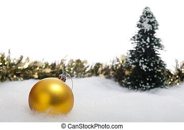 julbauble, med, gran träd, och, girland