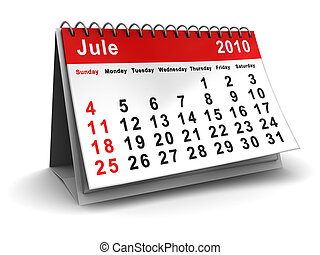 jule calendar - 3d illustration of jule 2010 calendar over...