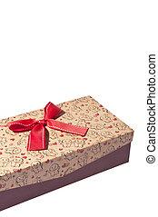 julgåva, boxas, med, röd remsa, isolerat, vita, bakgrund