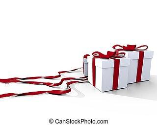 julgåva, med, röd, remsor, över, vit fond