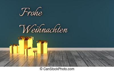 julgåva, ord, tysk, rutor, munter, glödande