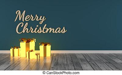 julgåva, rutor, munter, glödande