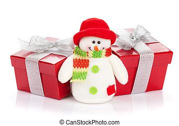julgåva, rutor, och, snögubbe, leksak