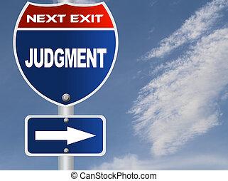julgamento, sinal estrada
