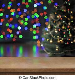 julgran, dekorerat, bak, tom, ved, bord, eller, hylla