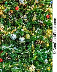 julgran, färgrik, dekoration